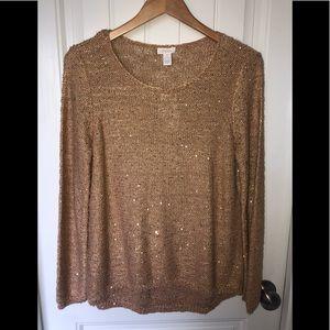 NEW Chico's gold sweater sz 1 Medium M 8